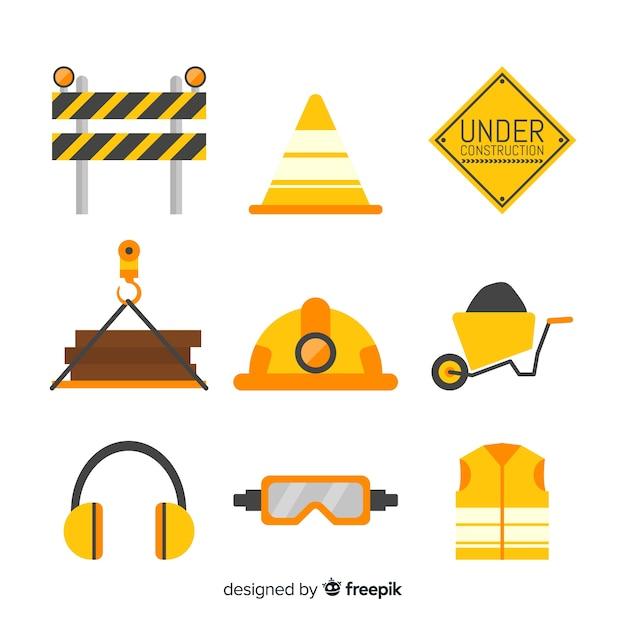 Set de equipamiento para la construcción vector gratuito