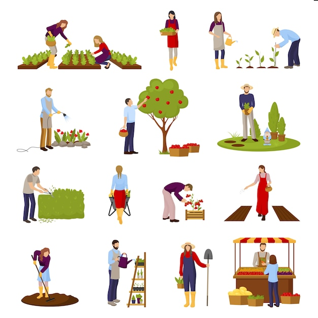 Set de escenas de horticultura vector gratuito