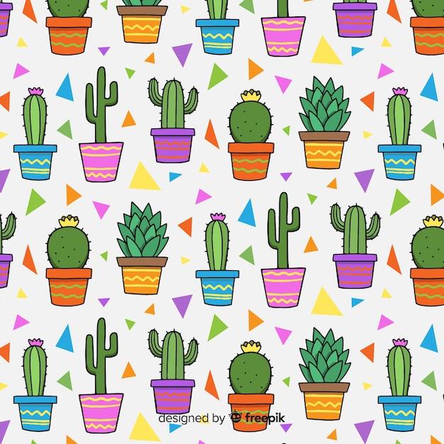 Set de estampados de cactus vector gratuito