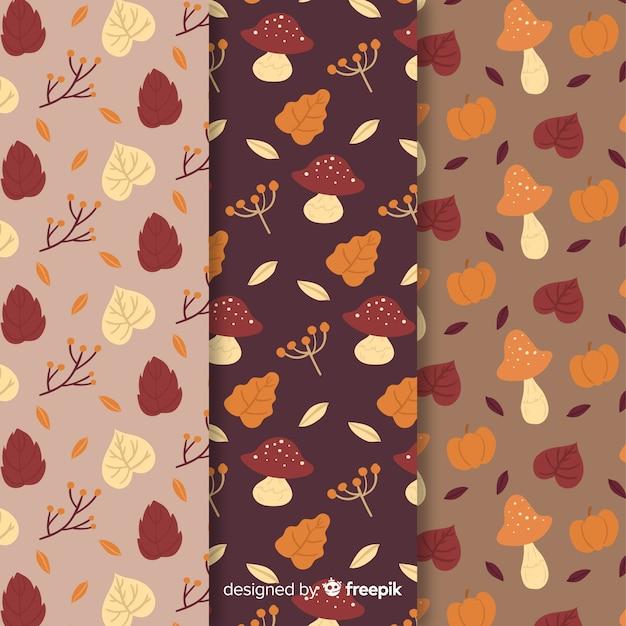 Set de estampados dibujados de otoño vector gratuito