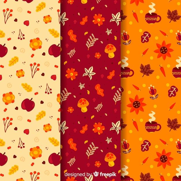 Set de estampados de otoño vector gratuito