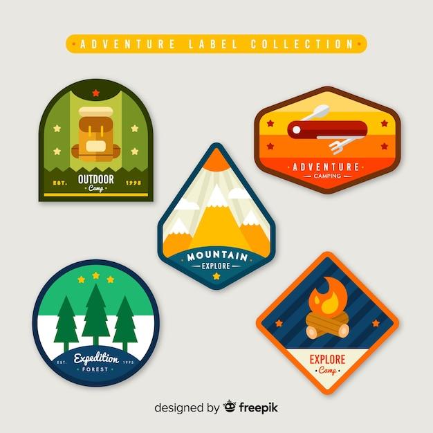 Set de etiquetas de aventura vector gratuito