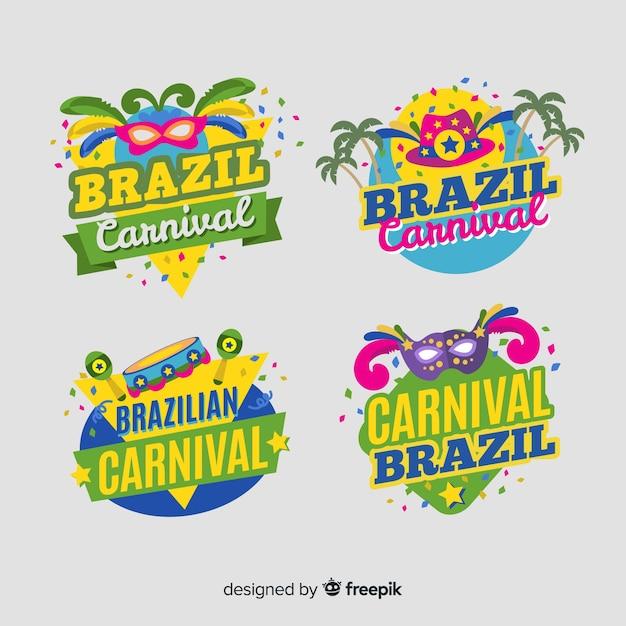 Set de etiquetas del carnaval de brasil vector gratuito