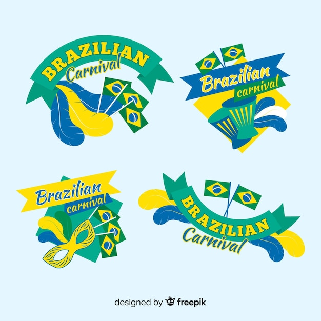 Set de etiquetas de carnaval de brasil vector gratuito