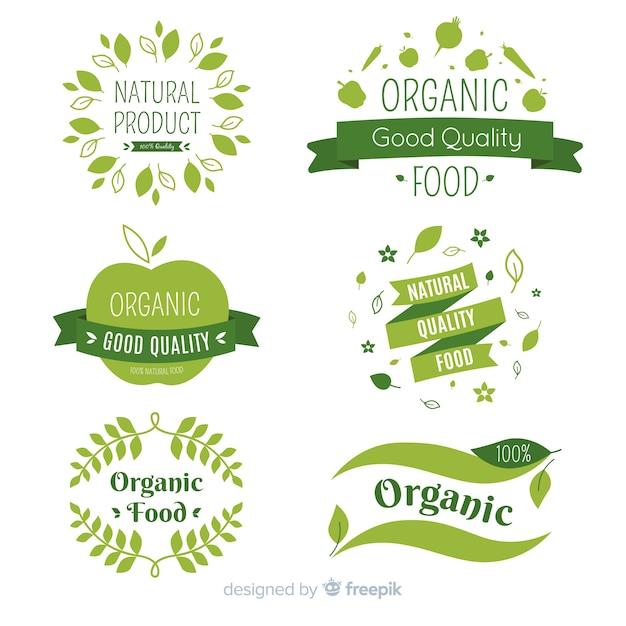 Set de etiquetas de comida orgánica vector gratuito