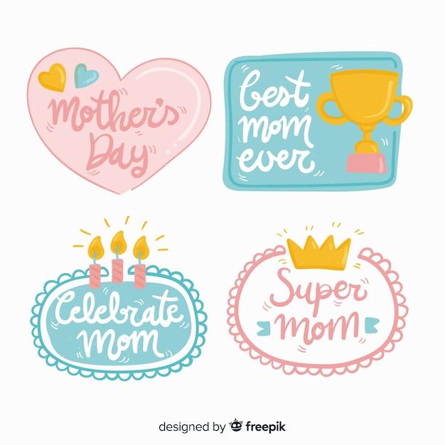 Set de etiquetas del día de la madre vector gratuito