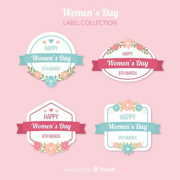 Set de etiquetas del día de la mujer vector gratuito