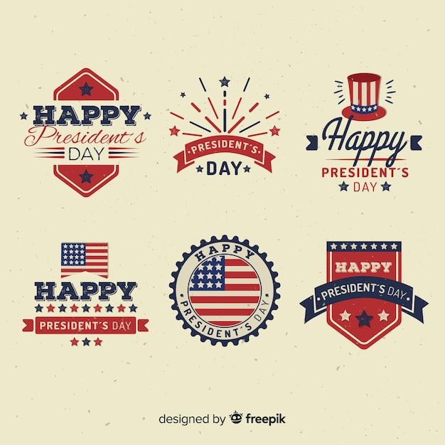 Set de etiquetas del día del presidente vector gratuito
