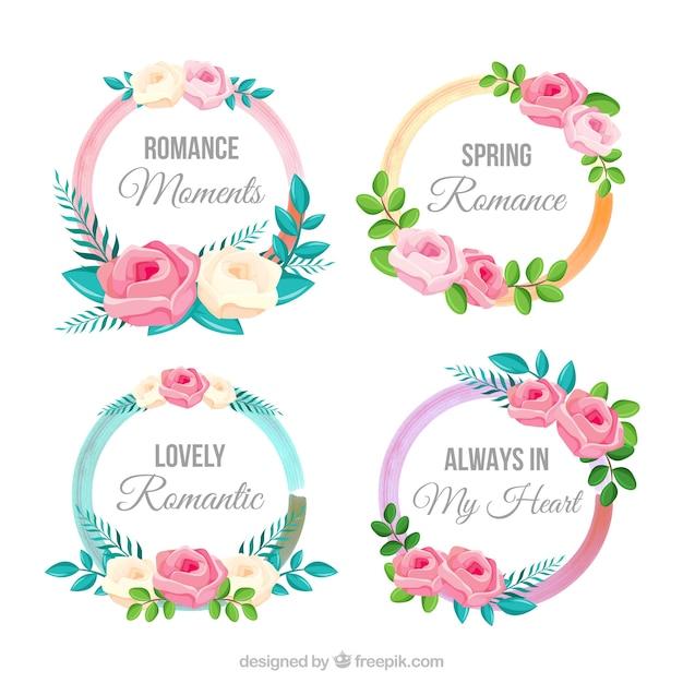 Set De Etiquetas Florales Decorativas Redondas Vector Gratis