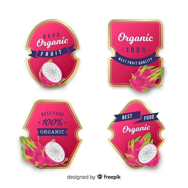 Set etiquetas realistas lichi orgánico vector gratuito