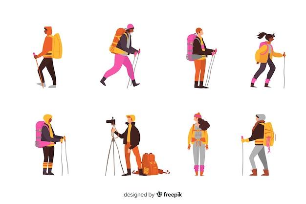 Set de exploradores con mochila vector gratuito