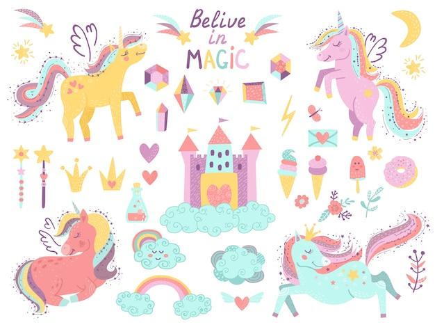 Set de fantasía unicornios y artículos. Vector Premium