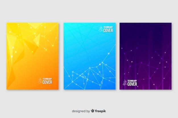 Set folletos coloridos tecnología vector gratuito