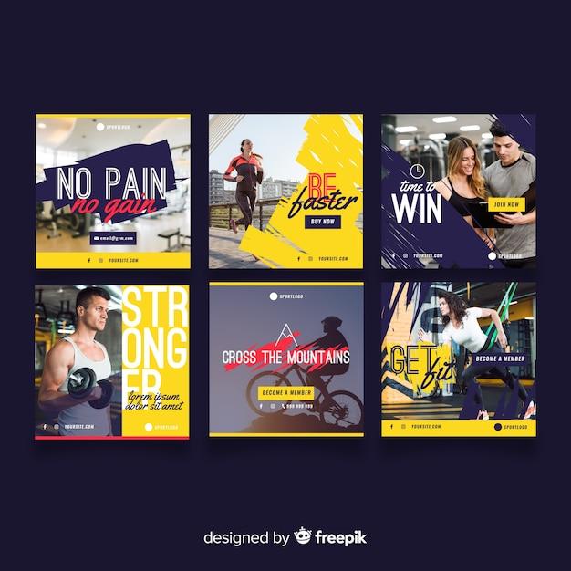 Set de folletos deportivos vector gratuito