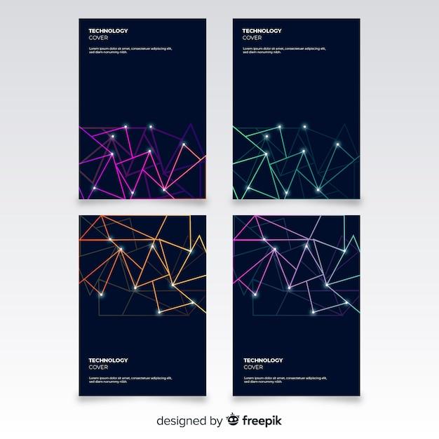 Set folletos estilo tecnológico vector gratuito