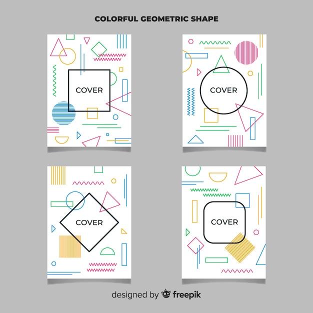 Set folletos líneas geométricas vector gratuito