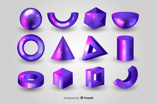 Set de formas geométricas tridimensionales vector gratuito