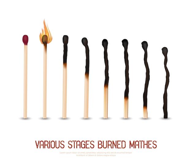 Set de fósforos quemados vector gratuito