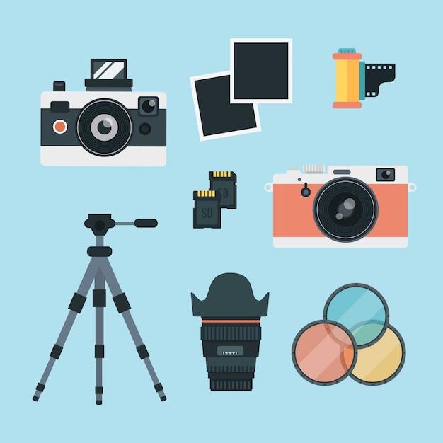 Set de fotografía vintage vector gratuito