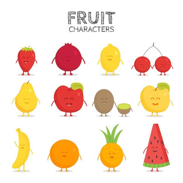 Set de frutas. fresa, granada, limón, cereza, pera, manzana, kiwi, plátano, piña, naranja, sandía. Vector Premium