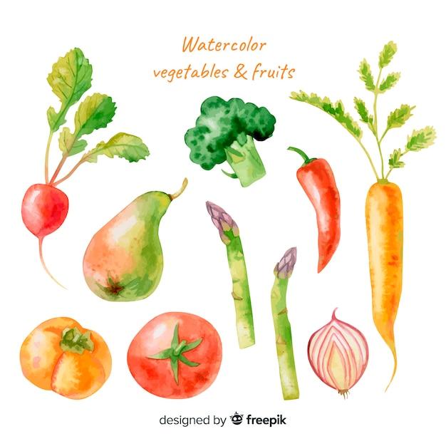 Set frutas y verduras acuarela vector gratuito