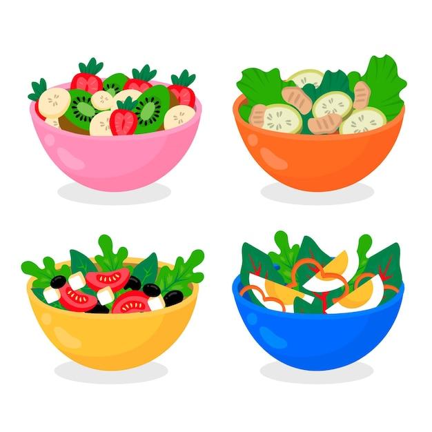 Set de fruteros y ensaladeras vector gratuito