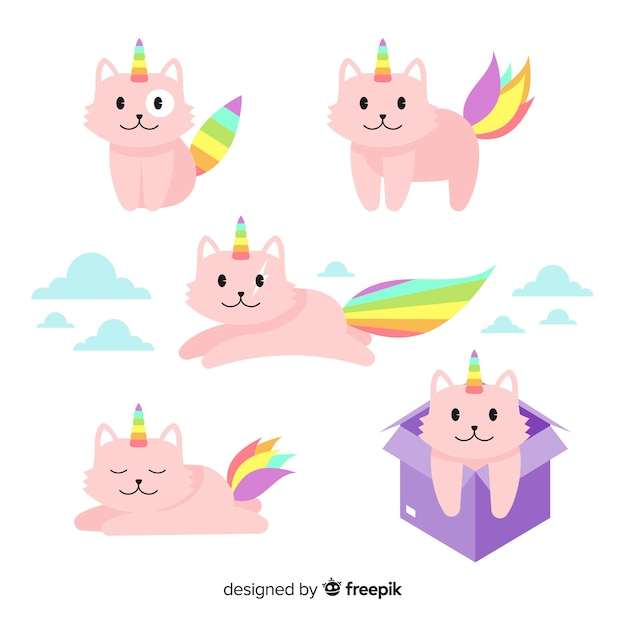 Set de gaticornios de estilo kawaii vector gratuito