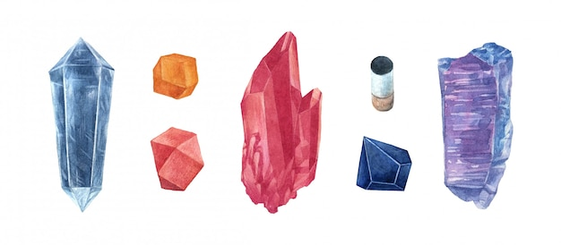 Set de gemas de cristal acuarela Vector Premium