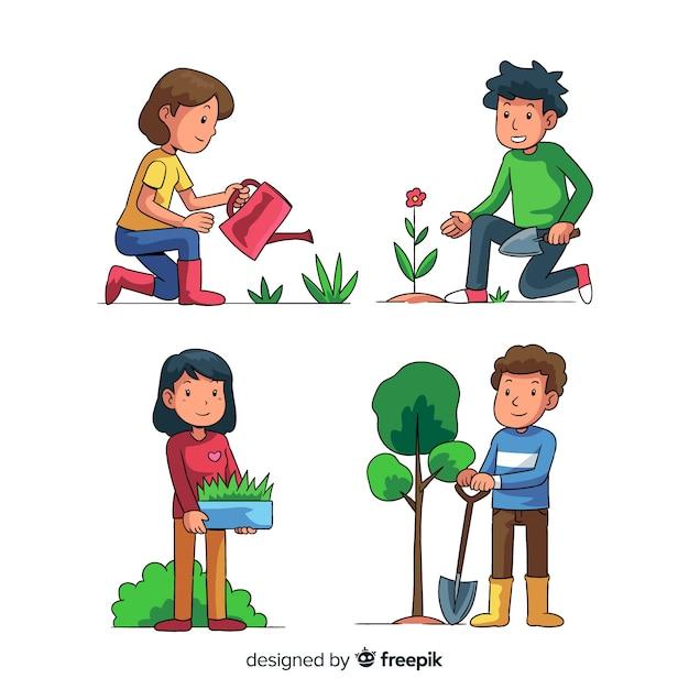 Set de gente cuidando de las plantas vector gratuito
