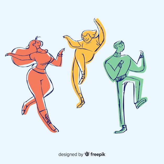 Set gente dibujada a mano bailando vector gratuito