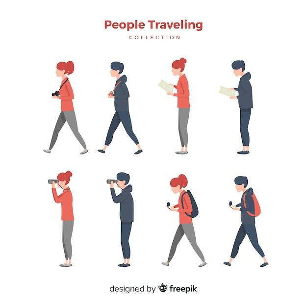 Set gente viajando dibujada a mano vector gratuito