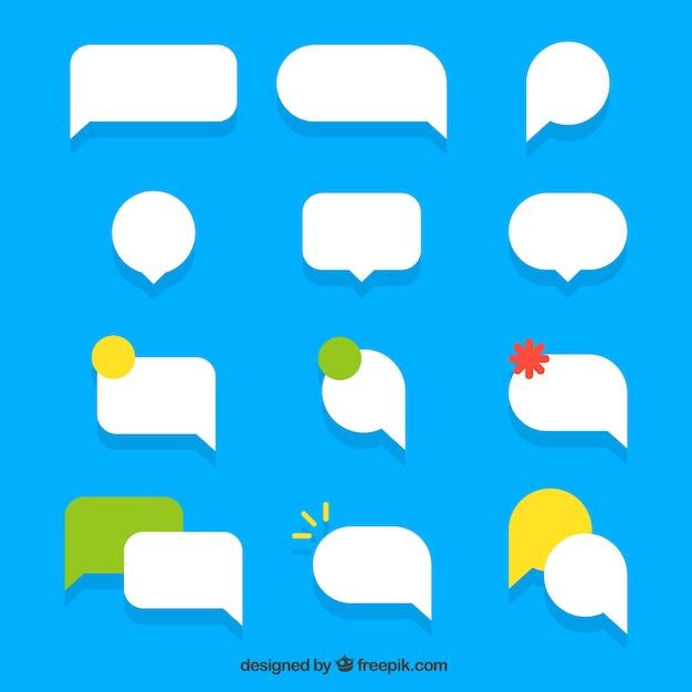 Set de globos de diálogo en diseño plano vector gratuito