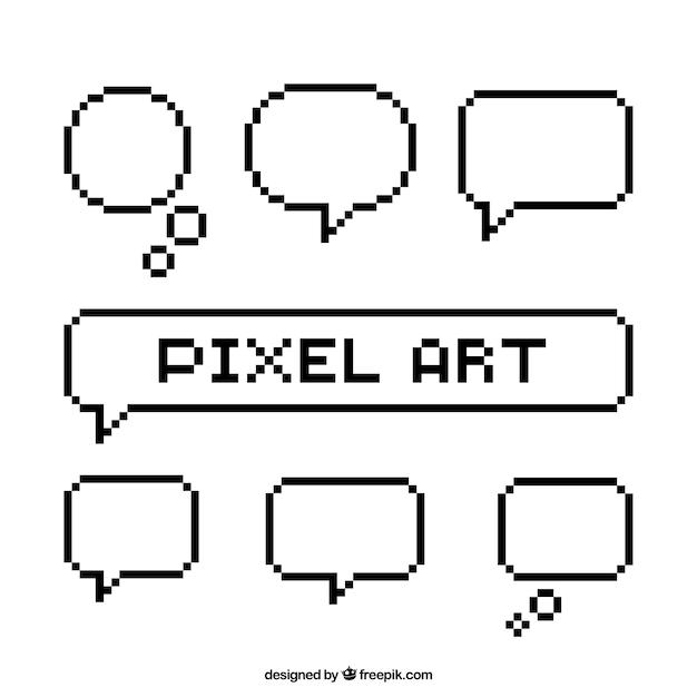 Set de globos de diálogos blancos en estilo pixel art Vector Premium