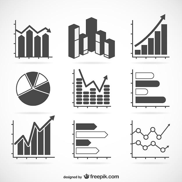 Set de gráficas de estadísticas vector gratuito