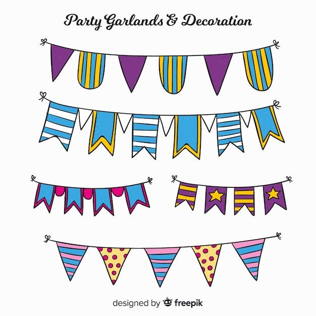 Set guirnaldas fiesta dibujada a mano vector gratuito