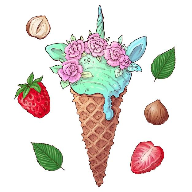 Set de helado de fresa con nueces. Vector Premium