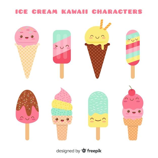 Set de helados en estilo kawaii vector gratuito