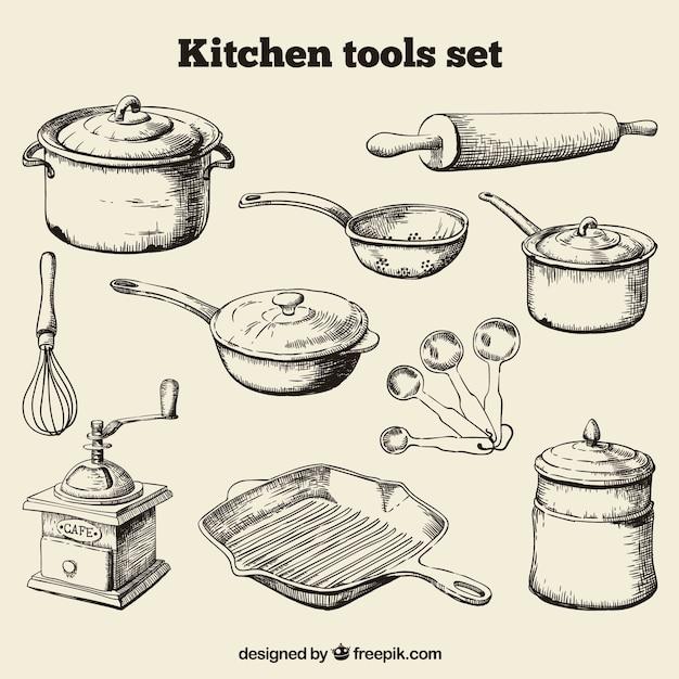 Set de herramientas para la cocina dibujadas a mano vector gratuito