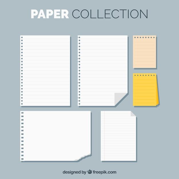 Set de hojas de libreta en diseño plano vector gratuito