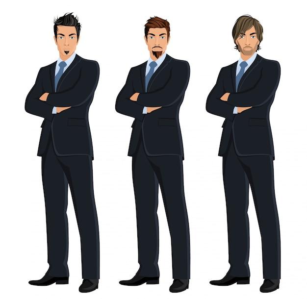 Set de hombres de negocios a color vector gratuito