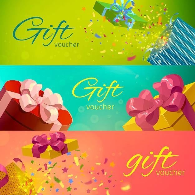 Set horizontal de vales de regalo vector gratuito