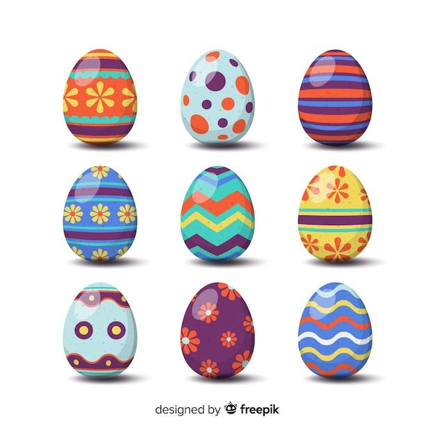 Set de huevos de pascua vector gratuito