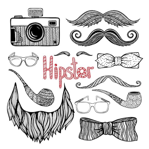 Set de iconos de accesorios de estilo de pelo de hipster vector gratuito