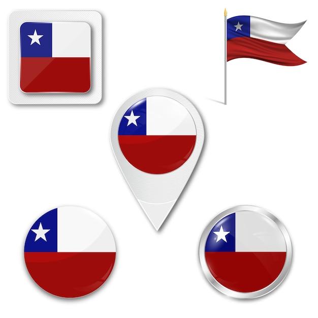 Set de iconos bandera nacional de chile Vector Premium
