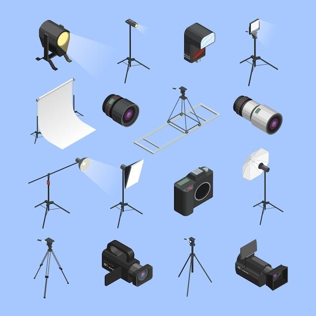Set de iconos isométricos de equipo de estudio de foto profesional vector gratuito