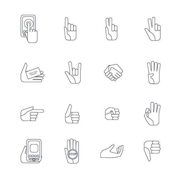 Set de iconos de mano contorno de linea vector gratuito