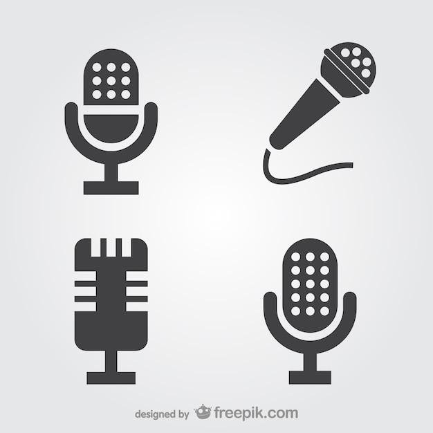 Set de iconos de micrófonos Vector Premium