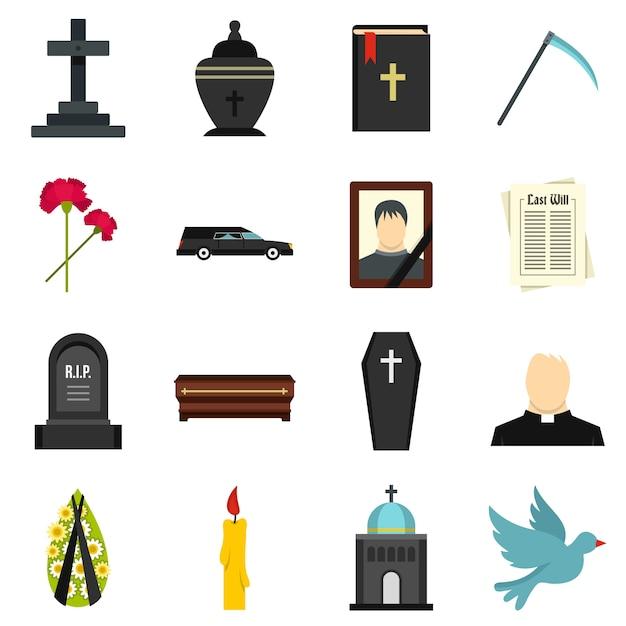 Set de iconos planos funerarios Vector Premium