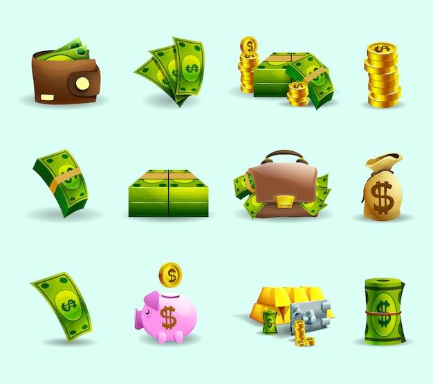 Set de iconos planos de pago en efectivo vector gratuito
