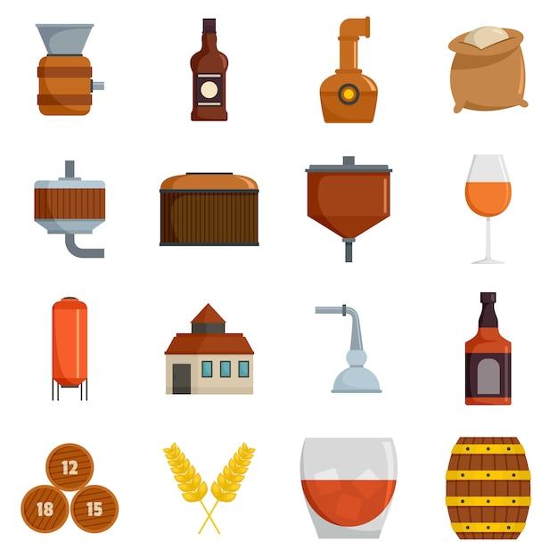 Set de iconos de vidrio de botella de whisky vector aislado Vector Premium